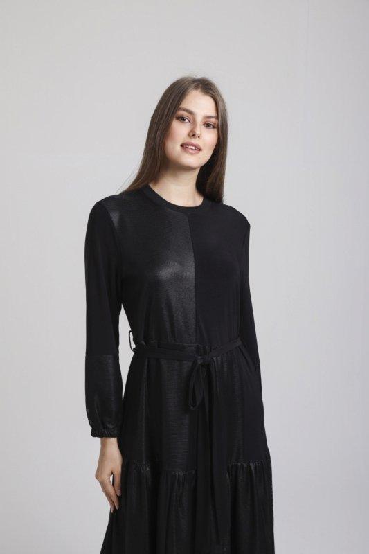Beli Kuşaklı File Detaylı Elbise - SİYAH